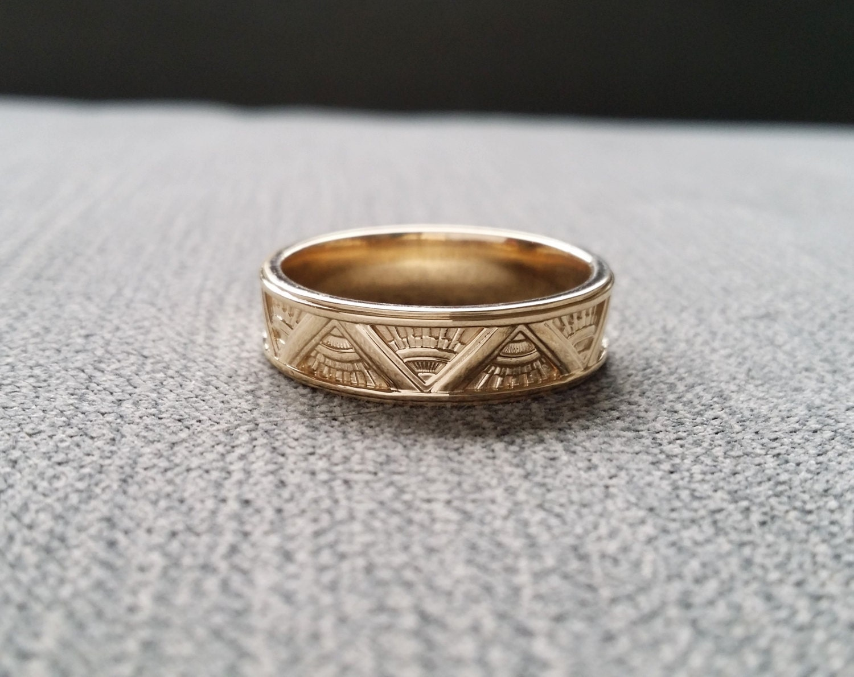 deco mens wedding band ring pattern antique unique