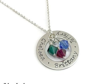 Personalized Sterling Silver Necklace with Three Names & Birthstones