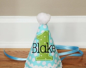 SPRING SALE Boys First Birthday Party Hat - Darling aqua and green dots - Free personalization