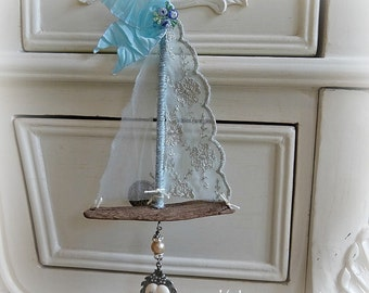 blue lace - driftwood and lace hanging sailboat - NO411