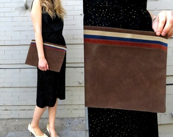 1970's Suede Handbag or Pouch // 70's Slotted Pouch // Earth tones // beige, brown, navy and red // vinyl and leather // soft and unique