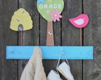 KIDS COAT RACK Lullaby Breeze - Hand Painted Wood