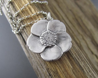 Handmade Spring Buttercup Sterling Silver Pendant