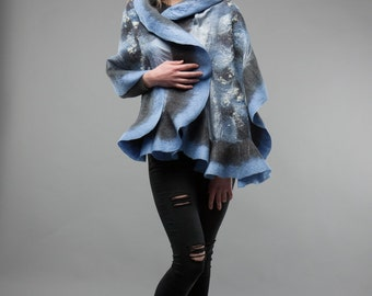 Grey and Light Blue combination Felted scarf wavy ruffled shawl Handmade Silk wool