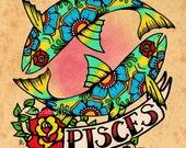 Old School Tattoo Zodiac Art PISCES Fish Astrology Print 5 x 7, 8 x 10 or 11 x 14
