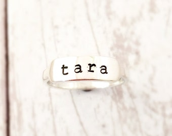 Personalized sterling silver ring - Name Ring - Sterling Ring - Custom Ring - Personalized Jewelry - Stacking Ring - Gift for Daughter Wife