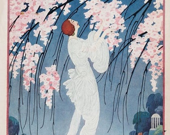 Art Print on SILK Vintage Magazine Cover from VOGUE - April 1919 dainty Lady in white dress in fantasy garden with pink Cherry Blossoms