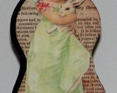 Primitive Style Wood Doll Easter Girl Pink Green With Bunny Rabbit