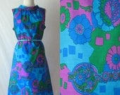 1960s Dress Psychedelic Floral Dress 60s Shift Dress Sleeveless