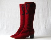 Velvet Boots 60s 70s Burgundy Tall Boots Embroidered Boots Size 8 to 8.5
