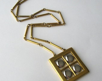Mod Necklace 70s Long Necklace Gold + Silver Geometric Necklace Square Necklace