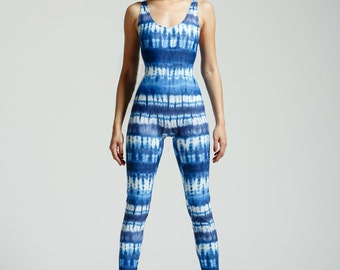 Porcelain Blue Tie Dye Yoga Suit for Stretching the Limits of your Soul - Free Shipping