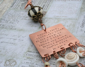 In Time song lyrics Jefferson Airplane hand-stamped copper ornament hanger reav view mirror hanger decorative piece
