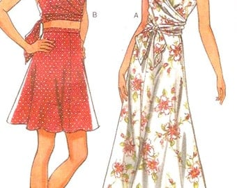 Halter wrap top sleeveless blouse and skirt Resort vacation summer style sewing pattern New Look 6512 Uncut Size 6 to 16