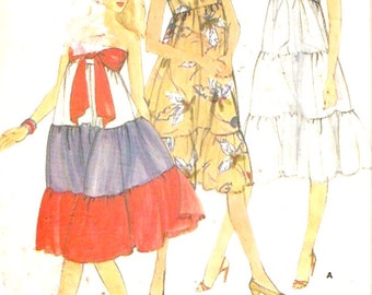 70s Sundress vintage Semi fitted bow front sewing pattern Butterick 3778 Pinup fashion UNCUT Sz 10 to 14