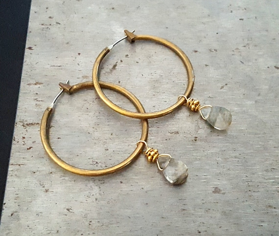 Raw Brass Hoop Earrings, Rustic BOHO Earrings, Tourmalinated Quartz, Dangle Hoop Earring, Gold Hoop Gemstone Dangle Earrings, Rustic Jewelry