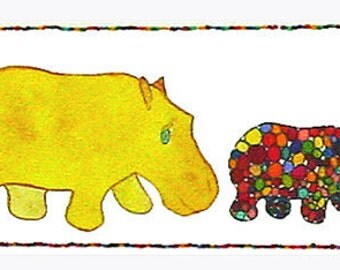 Hippo Art, Hippo print, 7 Hippos Marching, 7 Colorful Hippos march on the page.