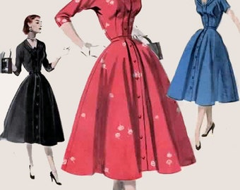 50s Full Skirted Coat Dress w/ Flattering Neckline Butterick 7578 1950's Vintage Sewing Pattern Size 16 Bust 34