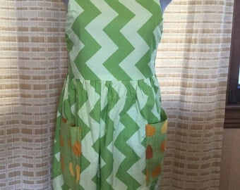 Green Chevron and Pear Adjustable Apron