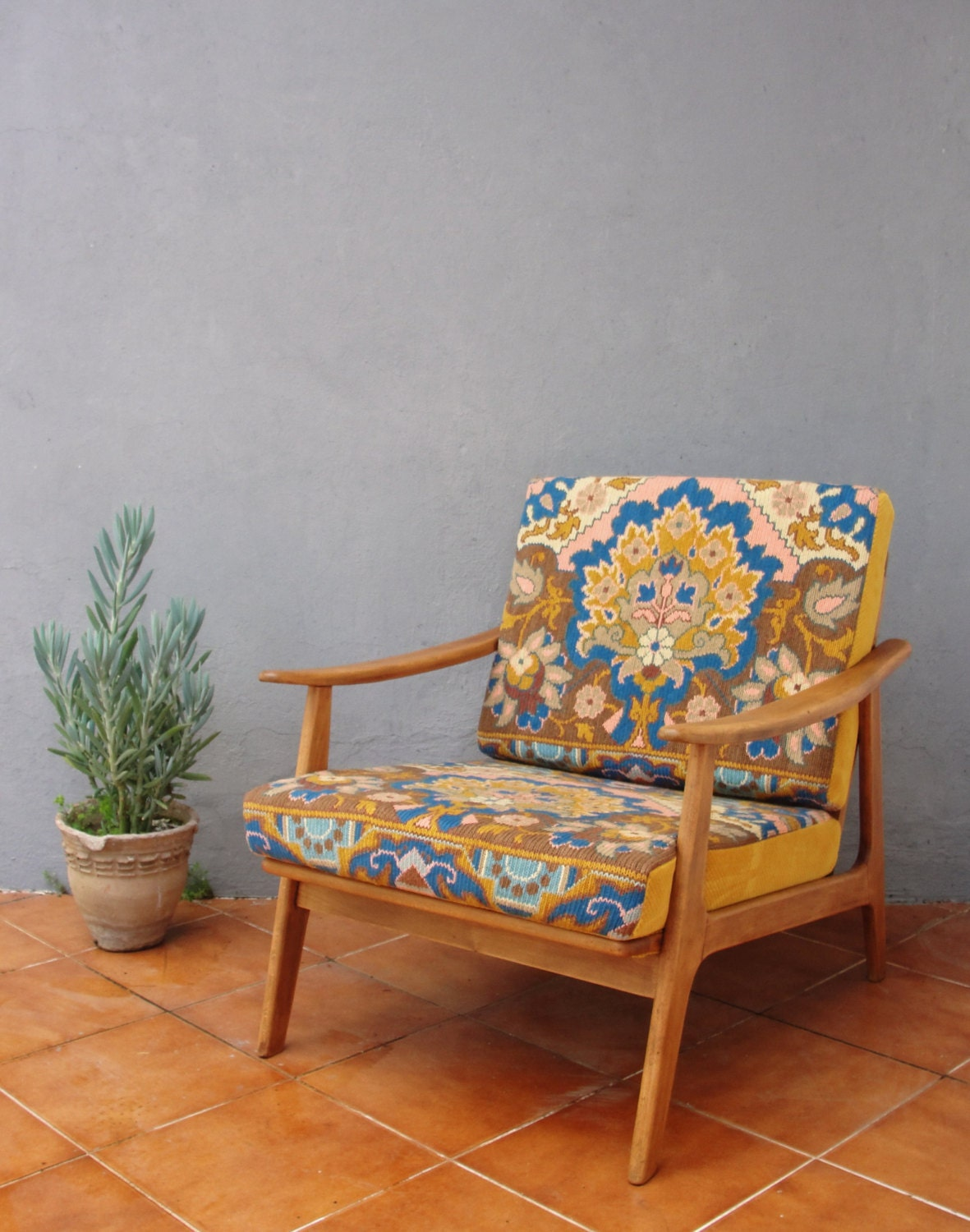 Embroidered Lounge Chair Mid Century Armchair Bohemian Wooden