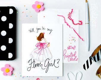 NEW-PRINTED Flower Girl card-Will you be my Flower Girl? Card, Brunette Flower Girl, Flower Girl Proposal