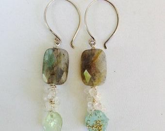 Ancient Roman Glass Labradorite Moonstone Earrings