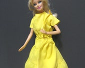 Barbie Doll Clothes, Barbie Clothing, Barbie Dress, Yellow Dress, Yellow purse, Two Piece Dress