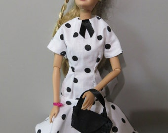 Barbie Dress, Barbie Clothes, Bag,  Black Purse, Black Polka Dot, Handmade Barbie Clothes