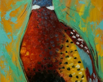 Pheasant painting 21 12x16 inch original animal bird portrait oil painting by Roz