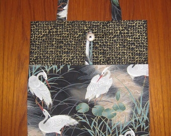 Tuck and Roll Fold-Up Portable Shopping Tote Japanese Herons Design Black