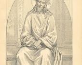Vintage Jesus Illustration Print Antique Christian 1883 Man Of Sorrows Book Plate