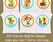 Circus theme DIY Iron Ons / BOY lion elephant ticket booth clown car / you can personalize name from home / PDF Instant Download set-#2