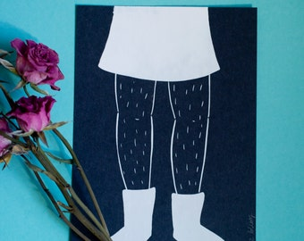 Hairy Legs 5x7 Print in Black and White