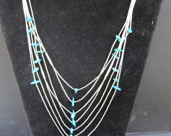 Native American Sterling SIlver Liquid Silver and Turquoise Necklace