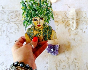 Pagan Art Greek Mythology Medusa Prayer Card Goddess Fantasy Art Pagan Altar Mythological Print Spiritual Art Divine Feminine Goddess