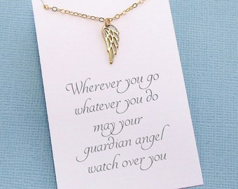 Angel Wing Necklace | Guardian Angel Necklace | Delicate Everyday Jewelry | Tiny Charm Pendant Necklace | Silver or Gold | X13