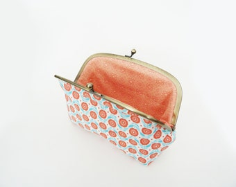 Cosmetic bag, coral and turquoise floral cotton purse, gadget pouch