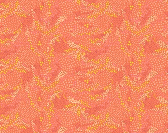 In the Sahara - Painted Dunes in Coral - by Katy Tanis for Blend Fabrics - fabric by the quarter yard cut continuously from the bolt