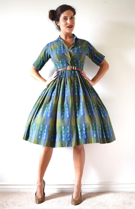 SUMMER SALE/ 30% off Vintage 50s 60s Secret Heart Green Plaid Skeleton Key Novelty Print Pleated Shirt Waist Dress (size small, medium)