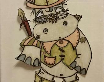 489 Full Body Steampunk Hippo Digi Stamp
