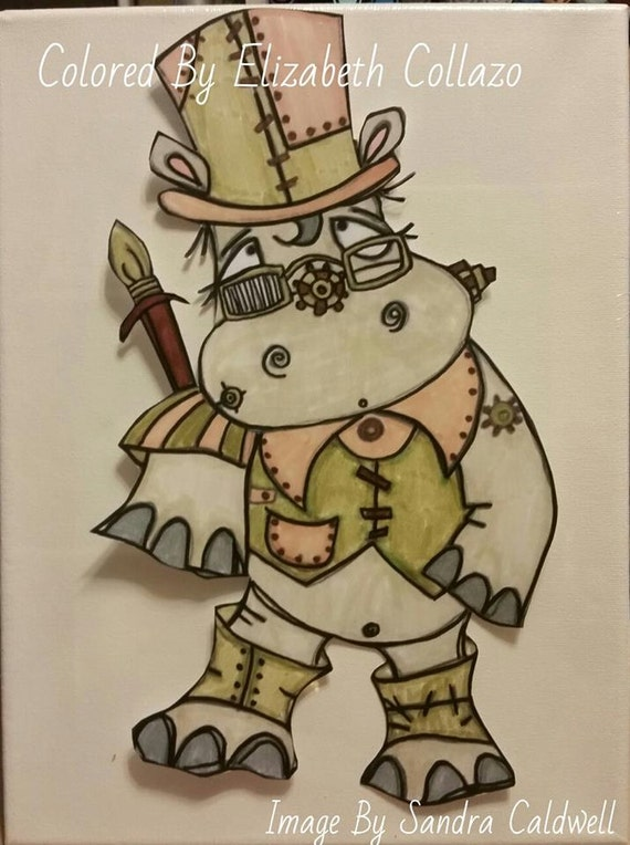 489 Full Body Steampunk Hippo Digi Stamp