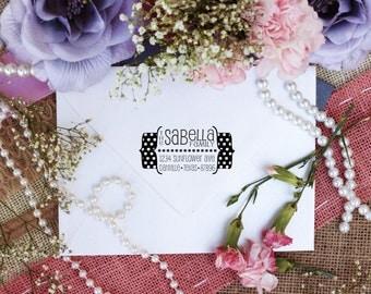 Polka dot custom return address rubber stamp, personalized labels Clear Block --2398
