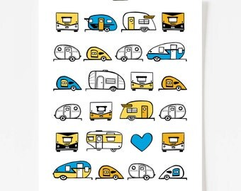 Vintage Trailer Caravan Art Print 11x14 - Blue and Mustard