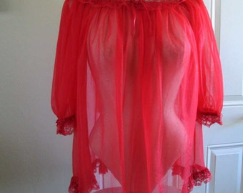 Red chiffon baby doll nightgown Shorty sheer red nighty Vintage Sheer short nighty Red Nylon puffy sleeves S/M