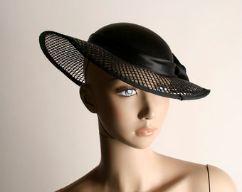 Vintage Satin Net Hat - 1950s Sunday Derby See Through Brim Rose Hat