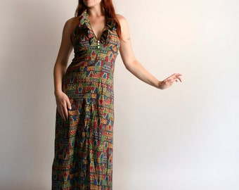 Vintage 1970s Maxi Dress - Halter Dress - Psychedelic Print Rainbow Colorful Festival Ethnic Ruffle Floor Length Dress - Medium