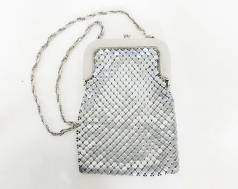 Whiting and Davis 60's 70's Vintage Silver Factory Matte Mesh Metal Rabanne Style Purse