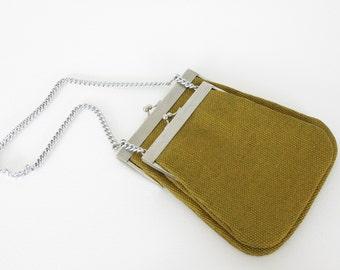 1960's Vintage Unique Tiered Pouch Silver Kisslock Cashin Style Handbag