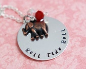 Hand Stamped Alabama Crimson Tide Roll Tide Roll Necklace with Antique Copper Elephant Charm