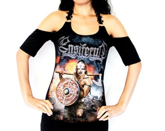 Ensiferum shirt metal clothing tunic top alternative apparel reconstructed altered band tee t shirt rocker clothes dark style